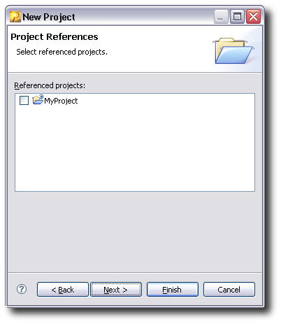Selecting referenced projects